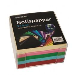 Notisbox 90x90 mm, 500 ark sorterade färger 10-pack