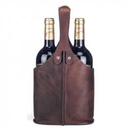 Vinväska i skinn 2 flaskor brun
