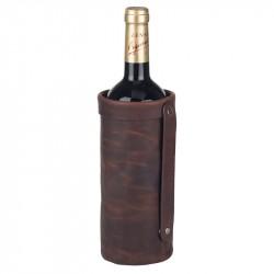 Vinväska i skinn 1 flaska brun