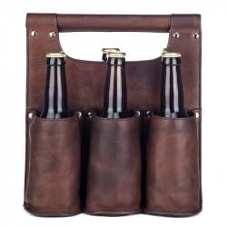 Ölväska i skinn 6 flaskor brun