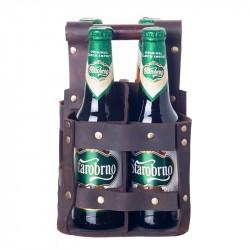 Bryggeriväska 4 flaskor skinn brun 100-pack