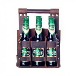 Bryggeriväska 6 flaskor skinn brun 100-pack