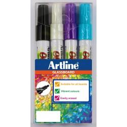 Glassboard Marker Artline svart,blå,vit,lila 4-pack
