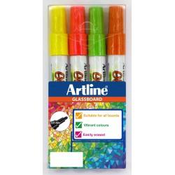 Glassboard Marker Artline rosa,gul,grön,orange 4-pack