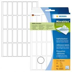 Herma etikett manuell avtagbar 13x40 vit (896)