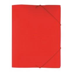 Gummibandsmapp 3-klaff PP tr. röd 10-pack
