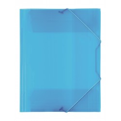 Gummibandsmapp 3-klaff PP tr. blå 10-pack
