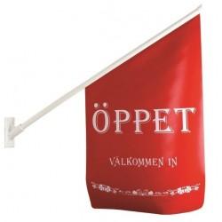 """Flagga """"Öppet"""" röd med vit text"""