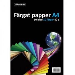 Färgat papper A4 80g sorterat 50/förpackning