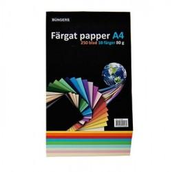 Färgat papper A4 80g sorterat 250/förpackning