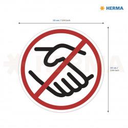 Herma etikett Inga handskakningar 10 i diameter (20)