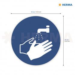Herma etikett Tvätta händerna 10 i diameter (20)